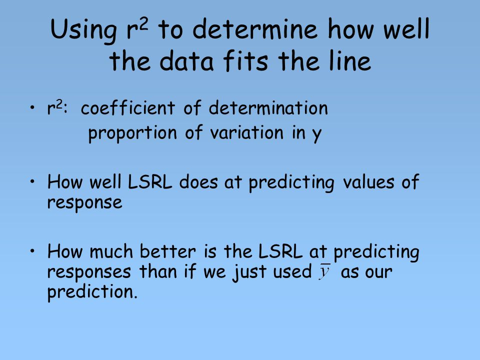Using r2 to determine how well the data fits the line