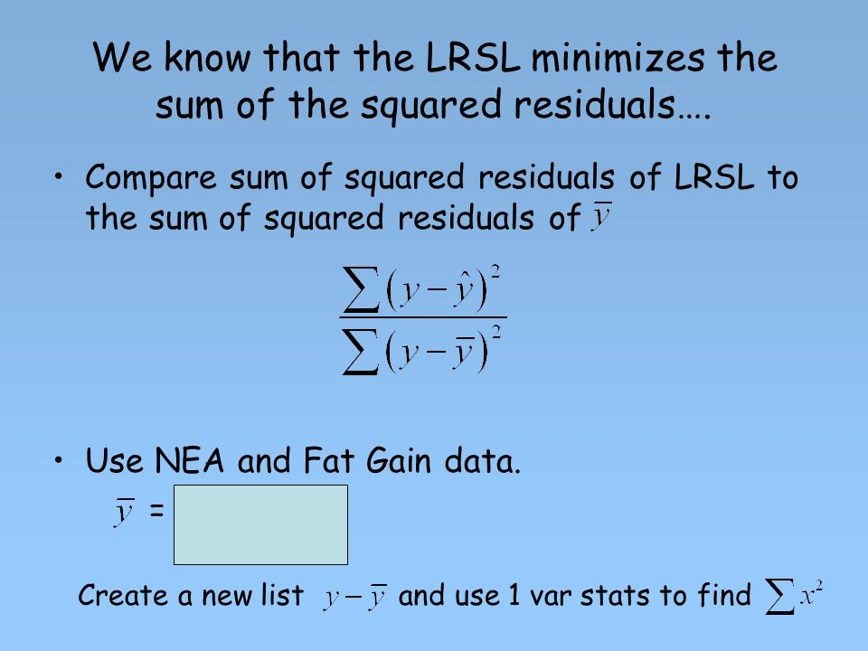 We know that the LRSL minimizes the sum of the squared residuals….