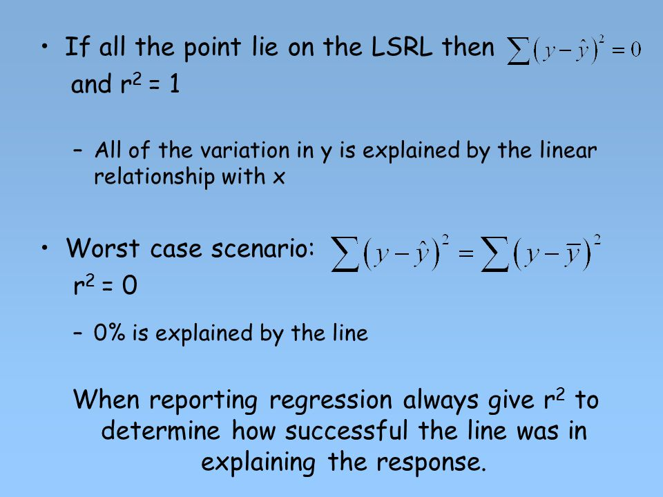 If all the point lie on the LSRL then and r2 = 1