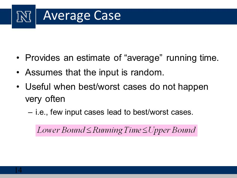 Average Case Provides an estimate of average running time.