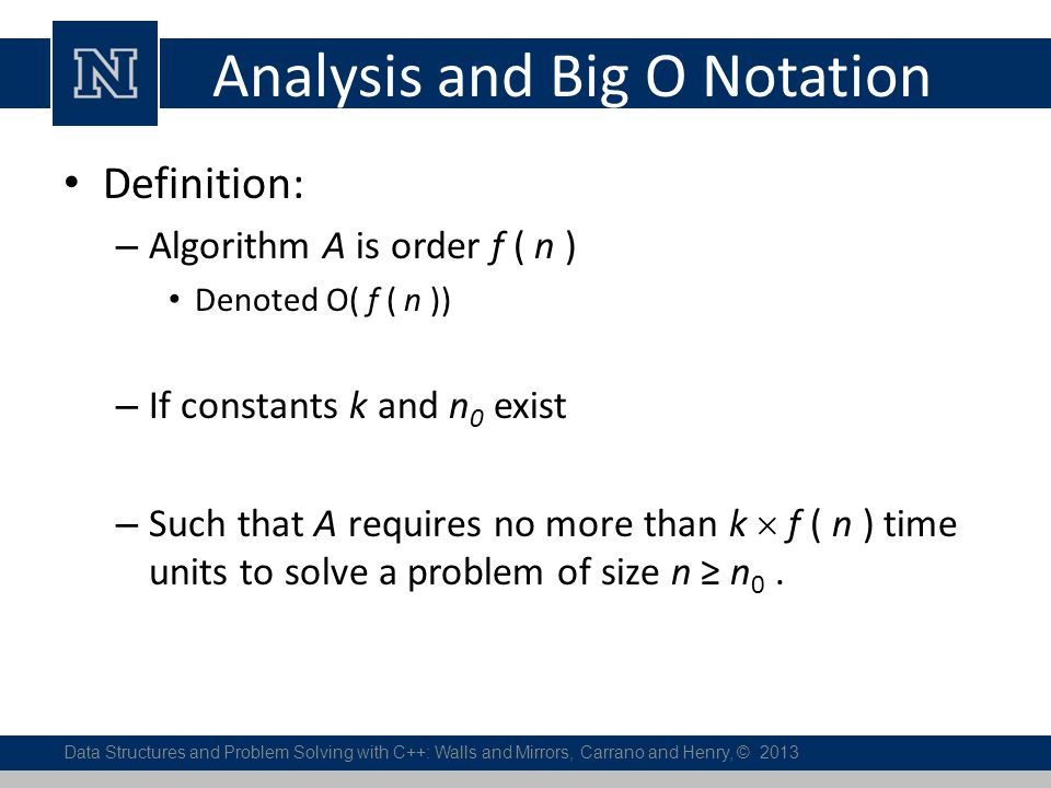 Analysis and Big O Notation