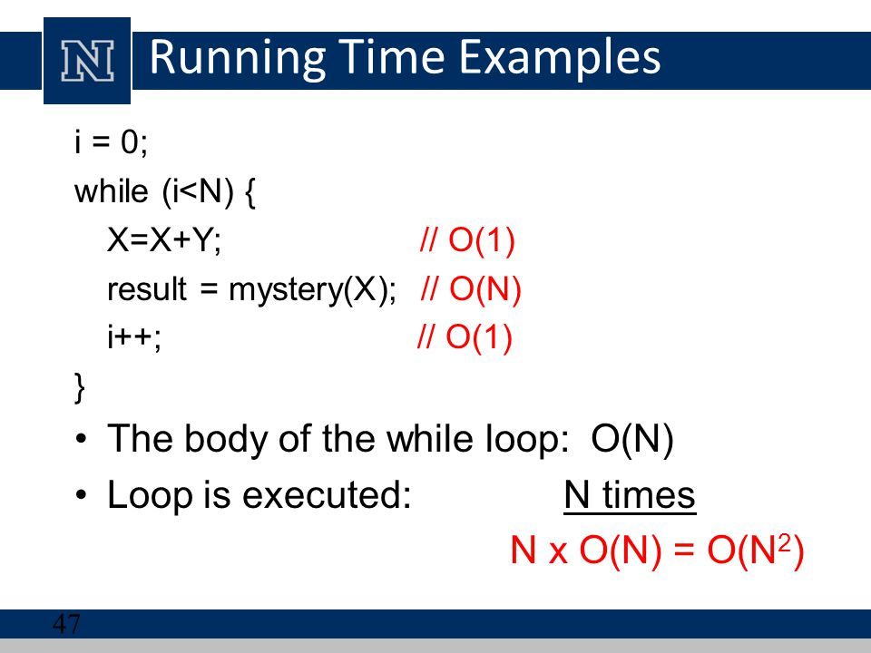 Running Time Examples The body of the while loop: O(N)