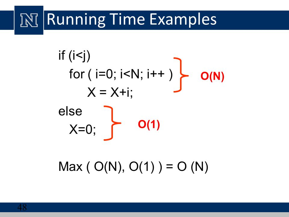 Running Time Examples if (i<j) for ( i=0; i<N; i++ ) X = X+i;
