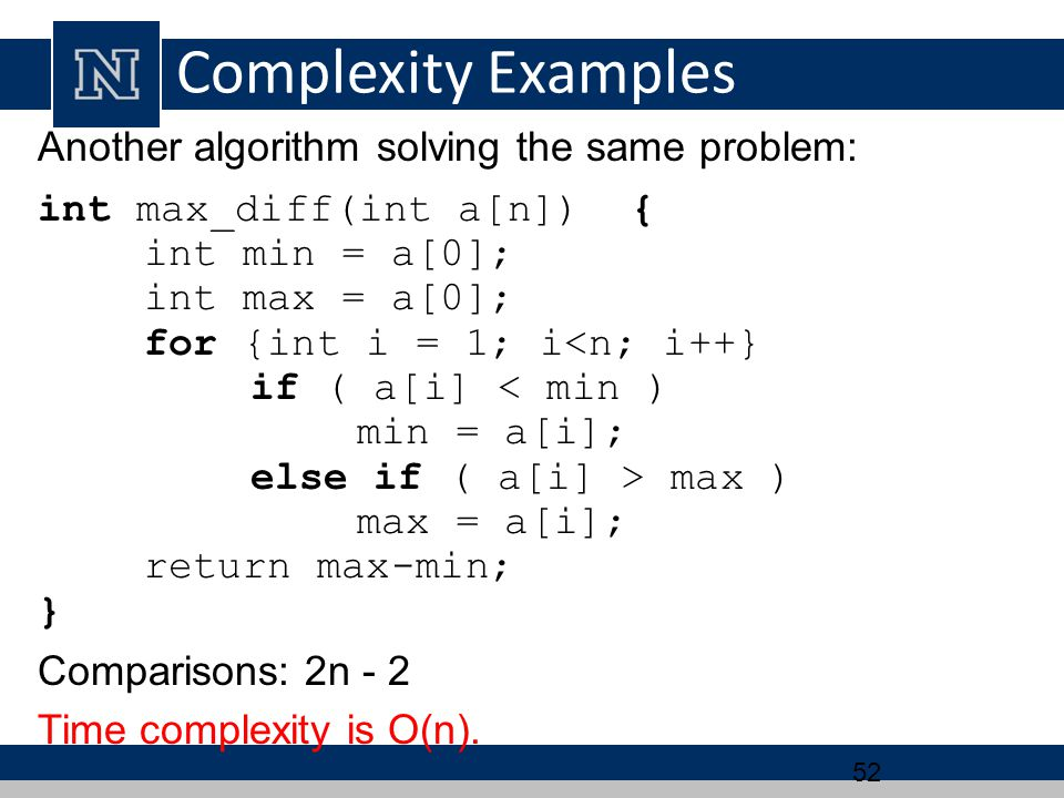 Complexity Examples Another algorithm solving the same problem: