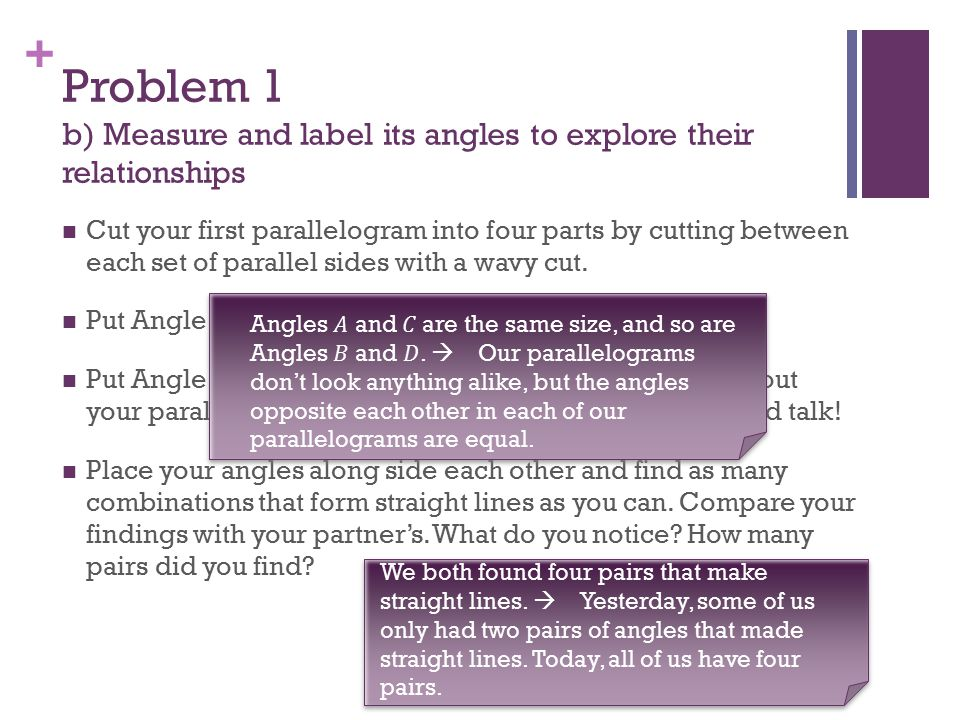 Problem 1 b) Measure and label its angles to explore their relationships