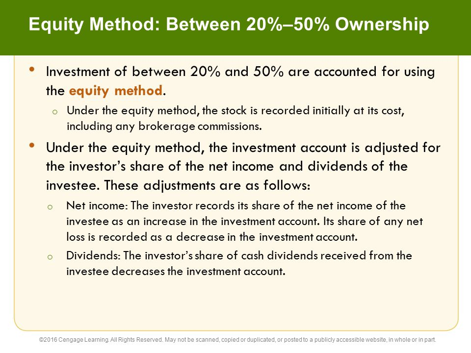 Equity Method: Between 20%–50% Ownership