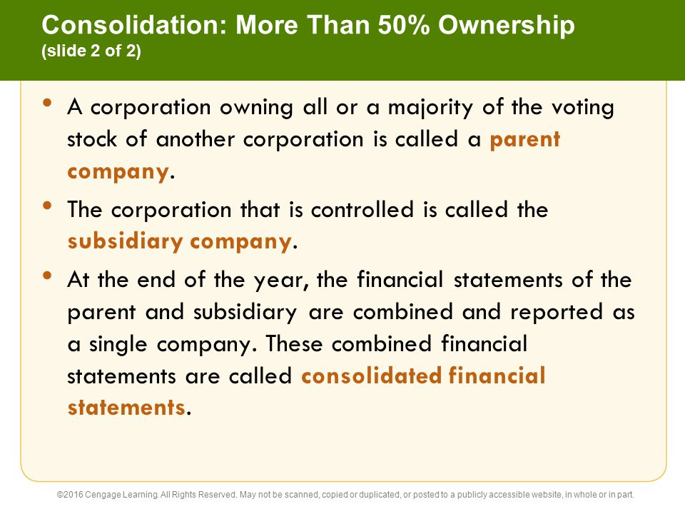 Consolidation: More Than 50% Ownership (slide 2 of 2)