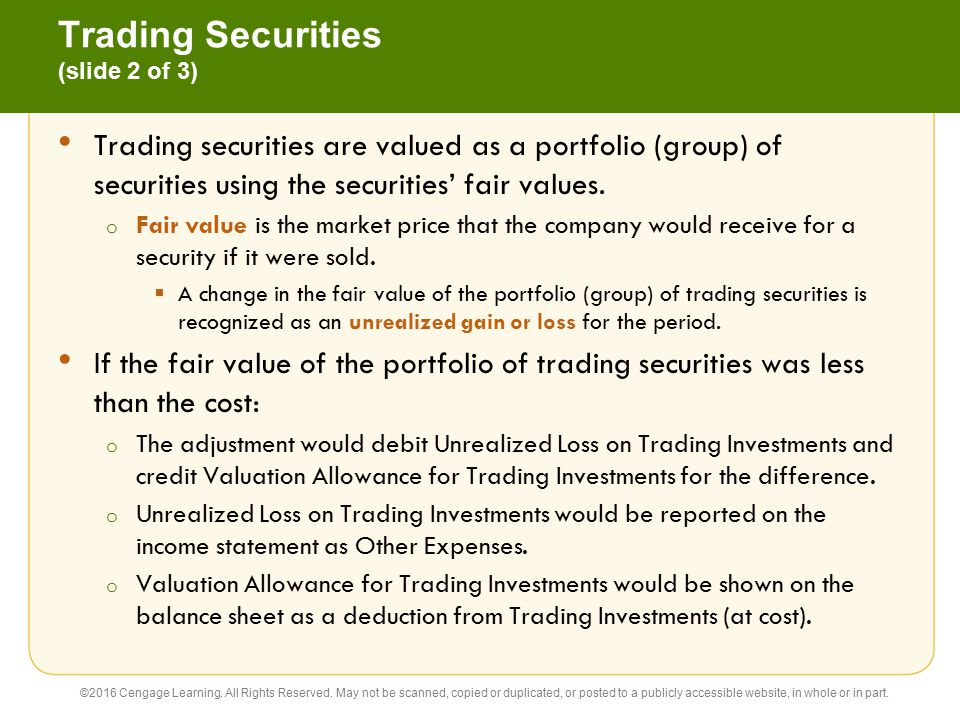 Trading Securities (slide 2 of 3)