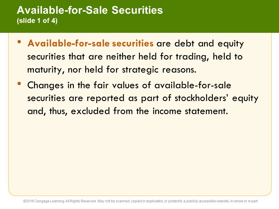 Available-for-Sale Securities (slide 1 of 4)