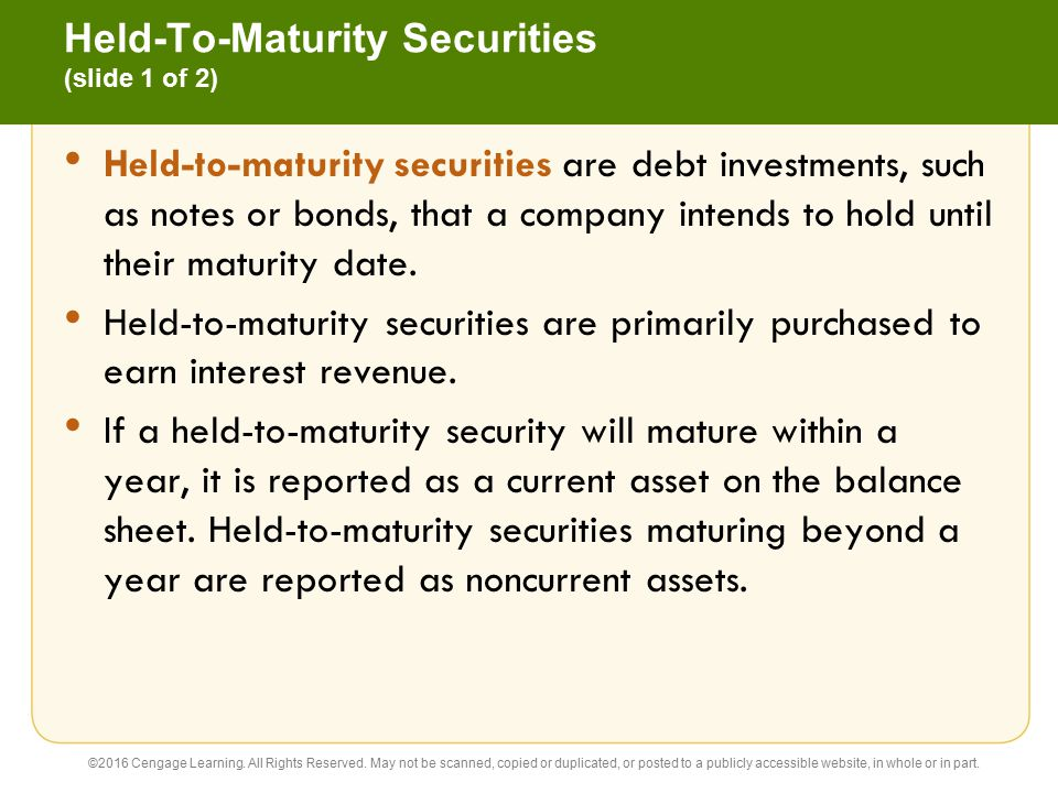 Held-To-Maturity Securities (slide 1 of 2)