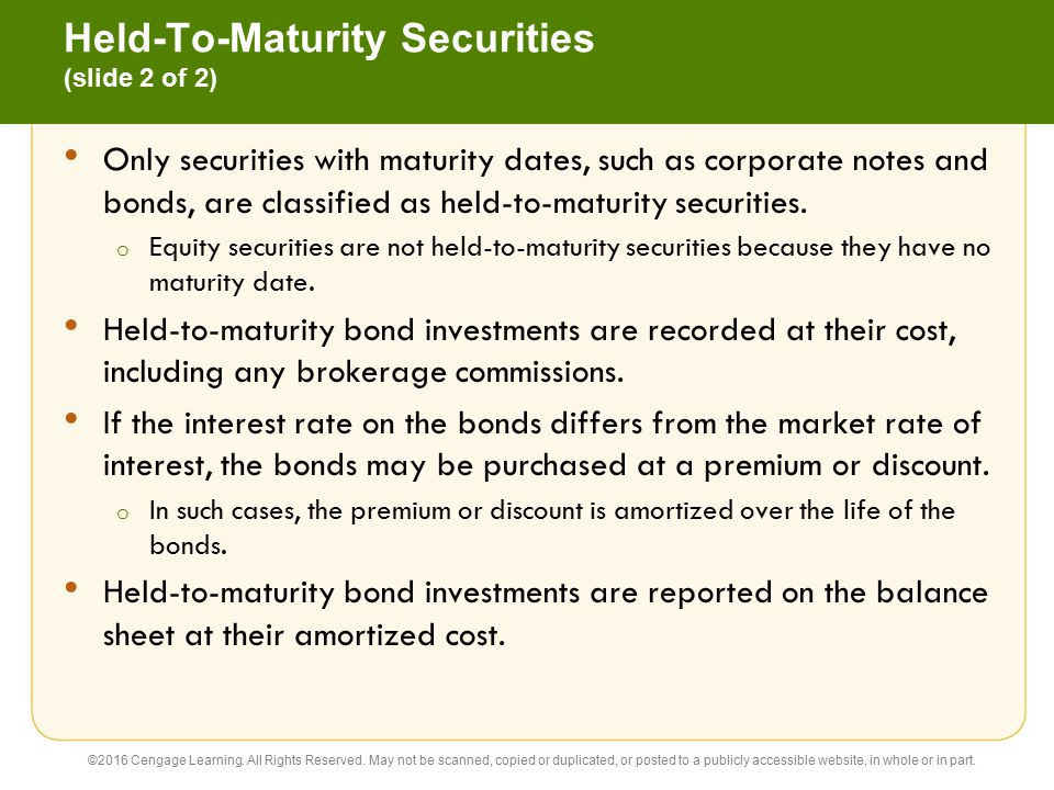 Held-To-Maturity Securities (slide 2 of 2)
