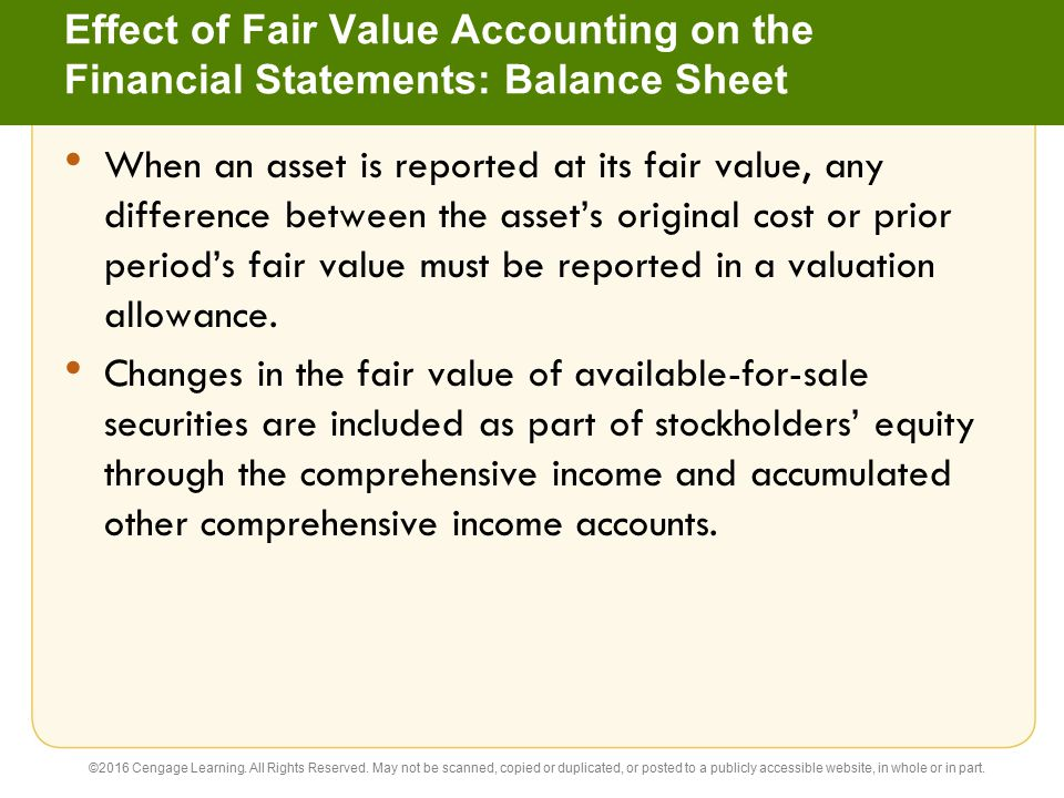 Effect of Fair Value Accounting on the Financial Statements: Balance Sheet