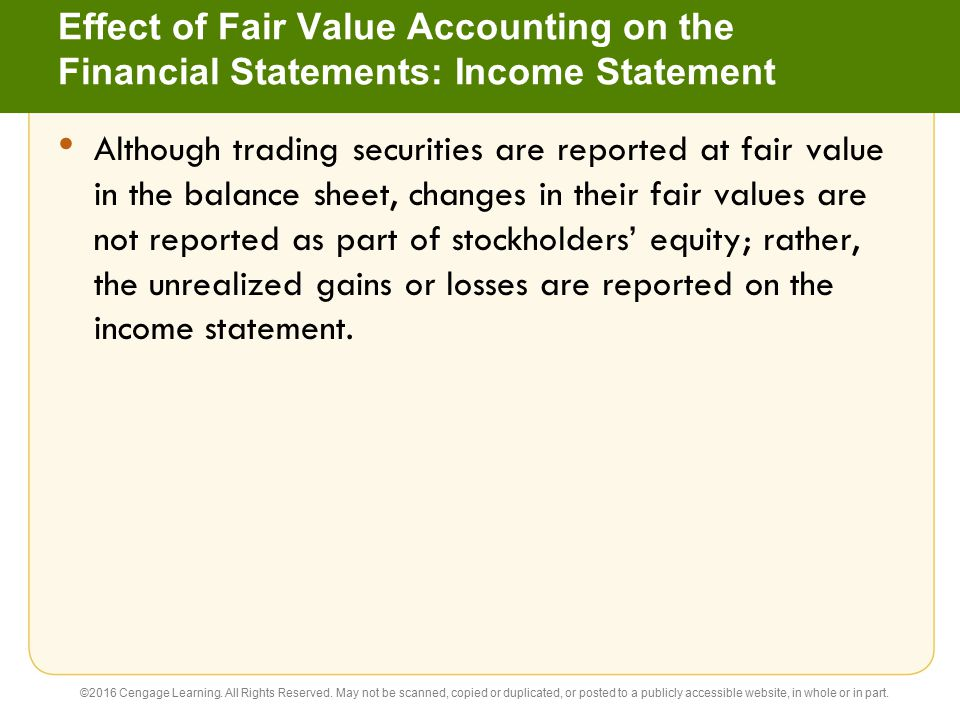 Effect of Fair Value Accounting on the Financial Statements: Income Statement