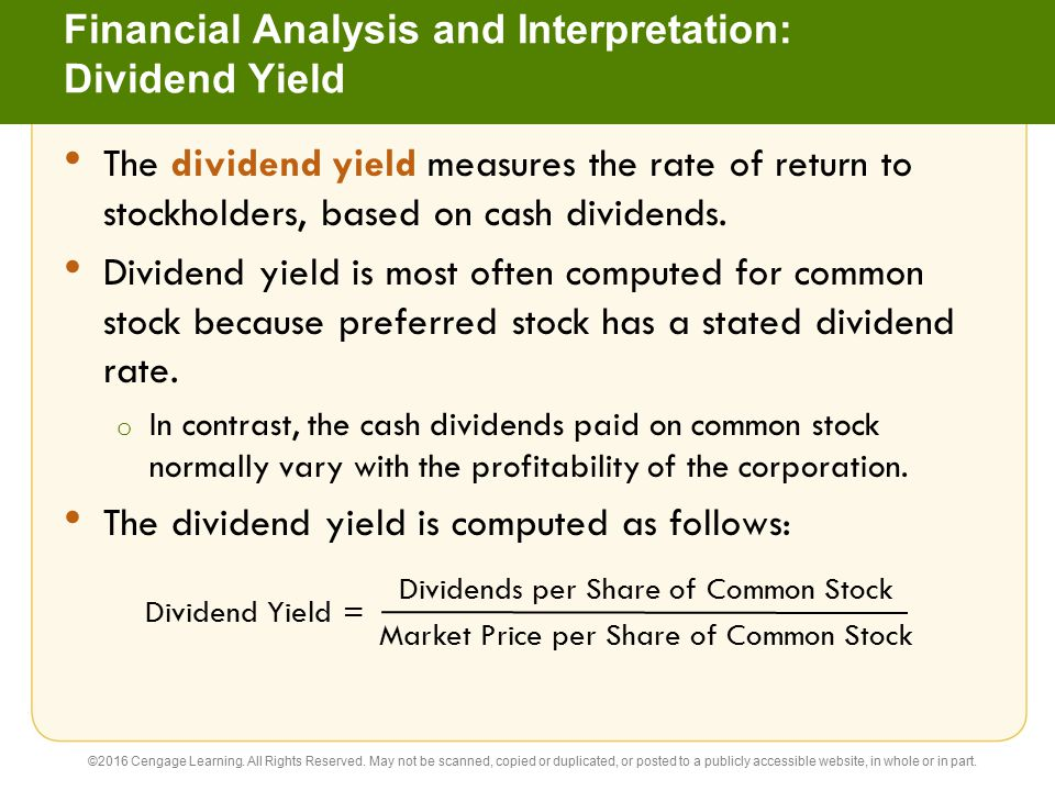 Financial Analysis and Interpretation: Dividend Yield