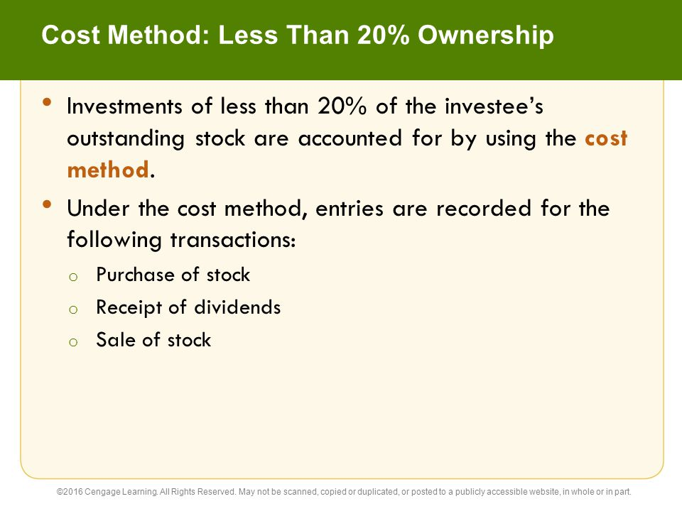 Cost Method: Less Than 20% Ownership