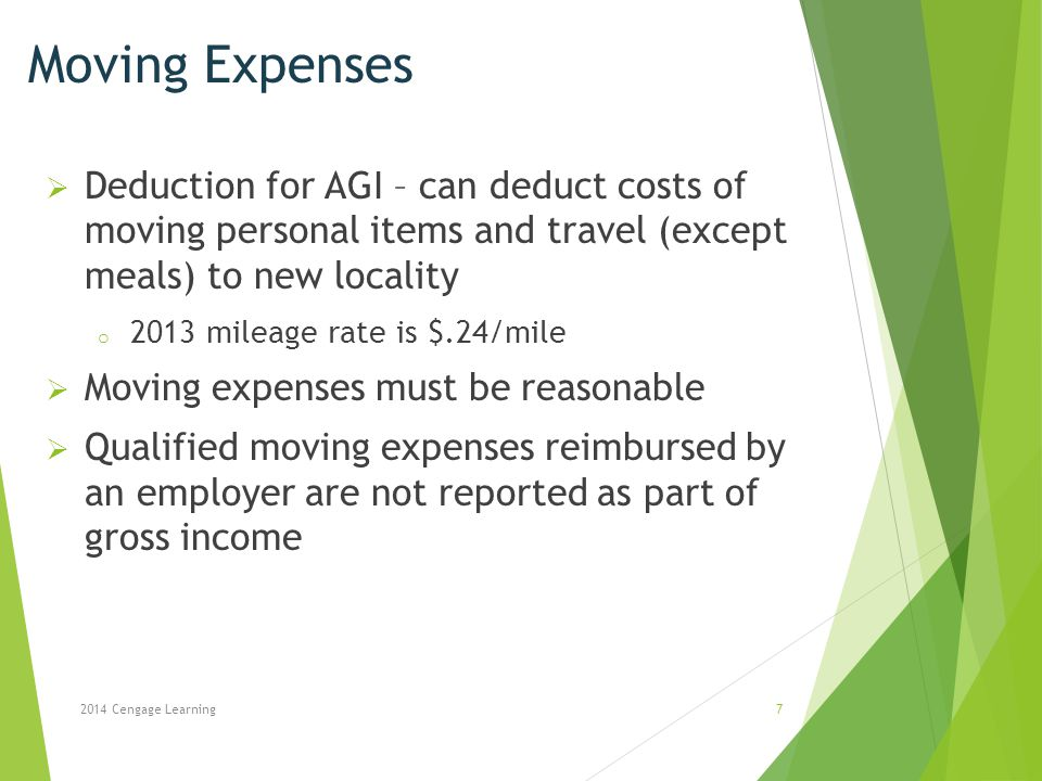 Moving Expenses Deduction for AGI – can deduct costs of moving personal items and travel (except meals) to new locality.