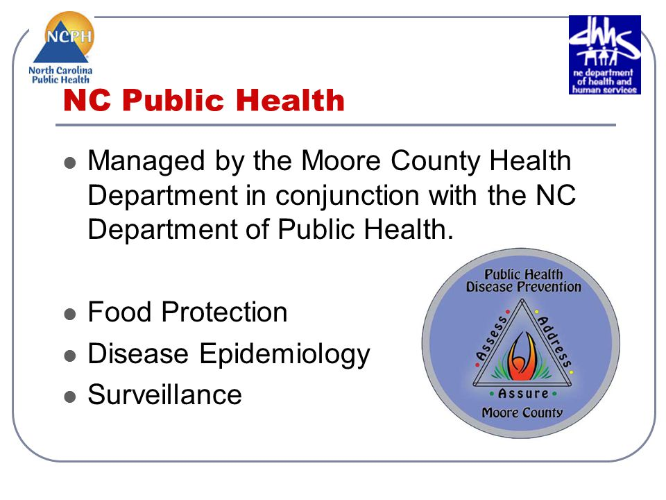 NC Public Health Managed by the Moore County Health Department in conjunction with the NC Department of Public Health.