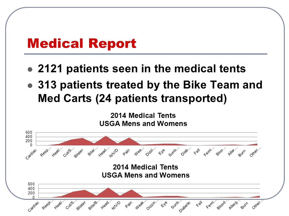 Medical Report 2121 patients seen in the medical tents