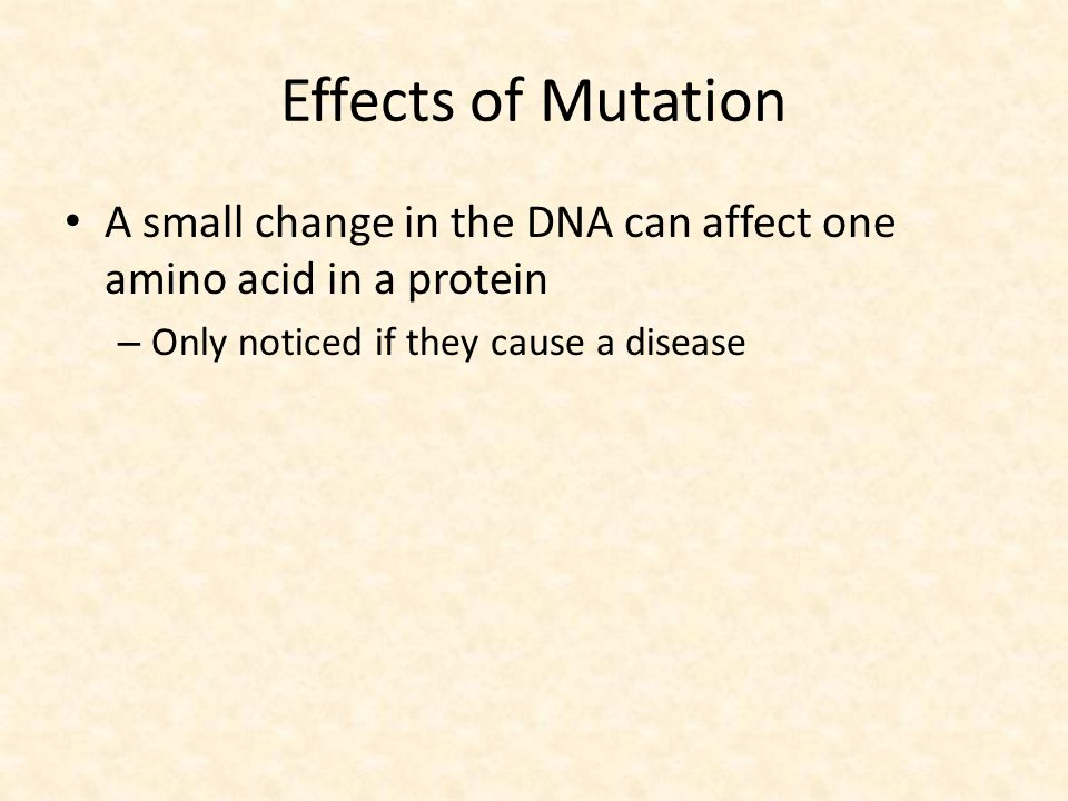 Effects of Mutation A small change in the DNA can affect one amino acid in a protein.