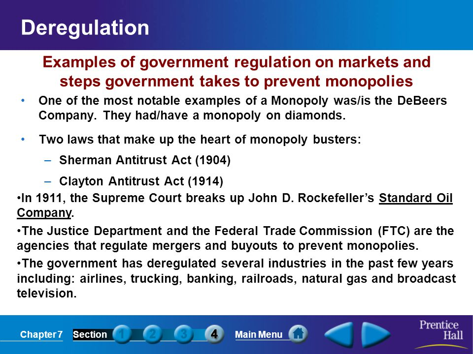 Deregulation Examples of government regulation on markets and steps government takes to prevent monopolies.