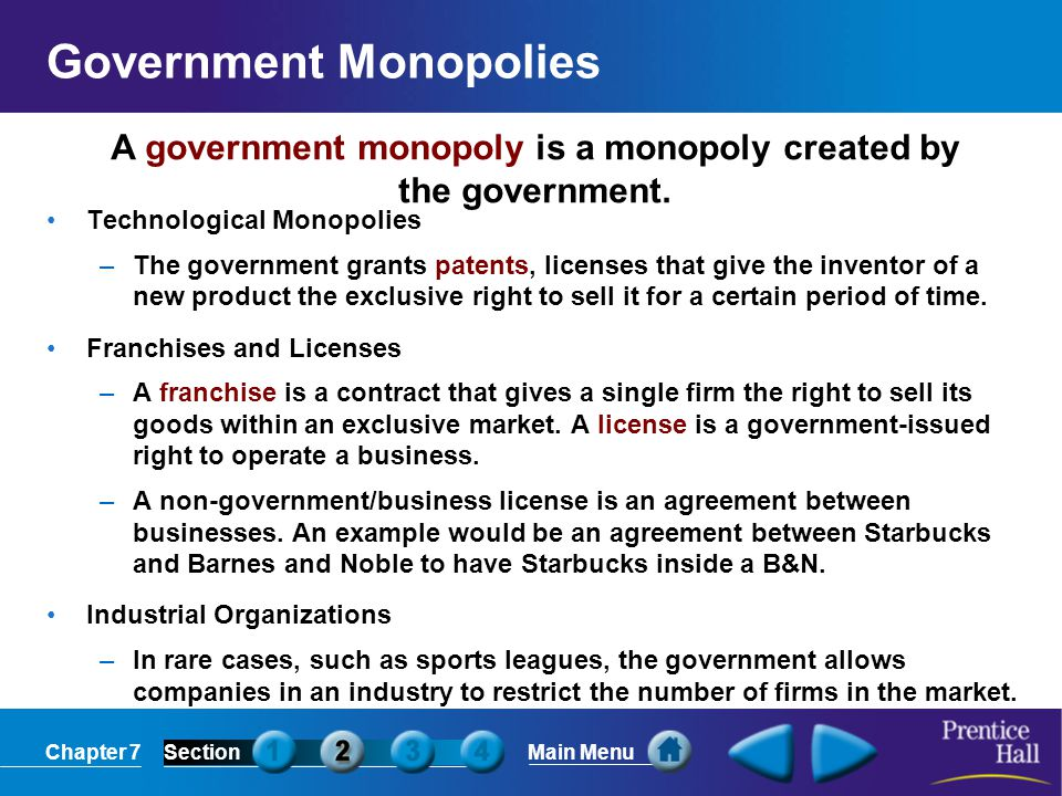 Government Monopolies