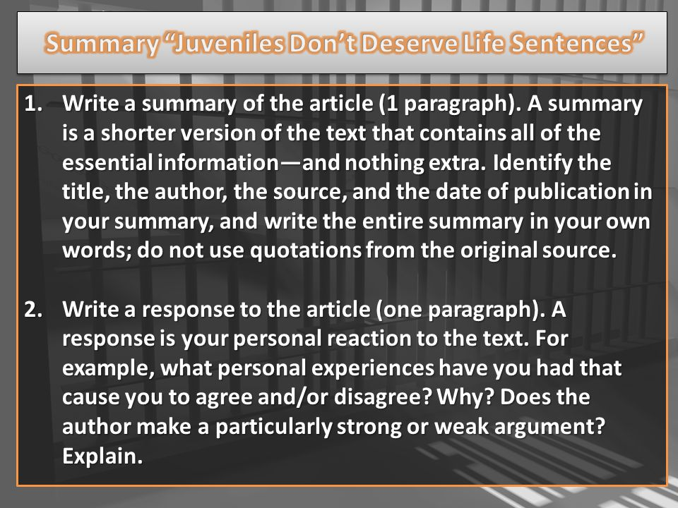 use garingers article with your annotations to help you write the summary and response