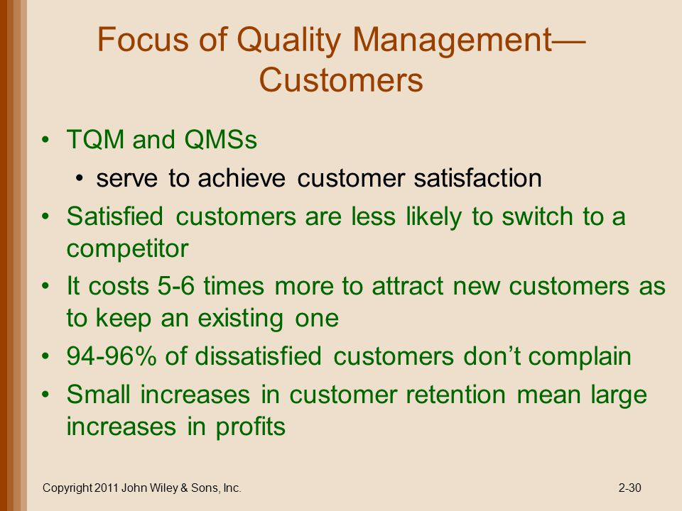 Focus of Quality Management— Customers