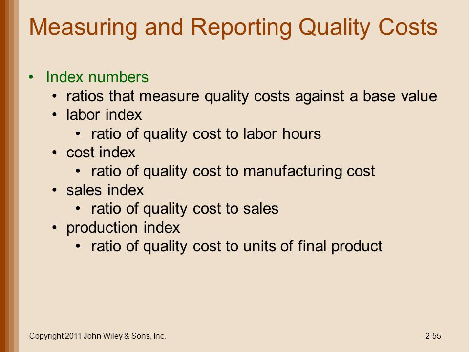 Measuring and Reporting Quality Costs