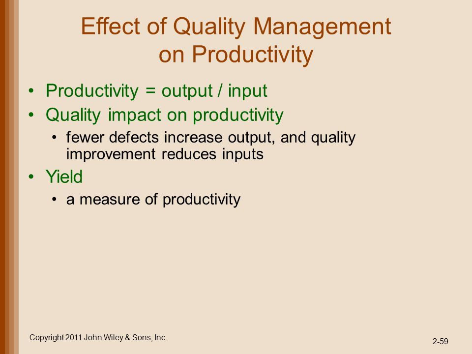 Effect of Quality Management on Productivity