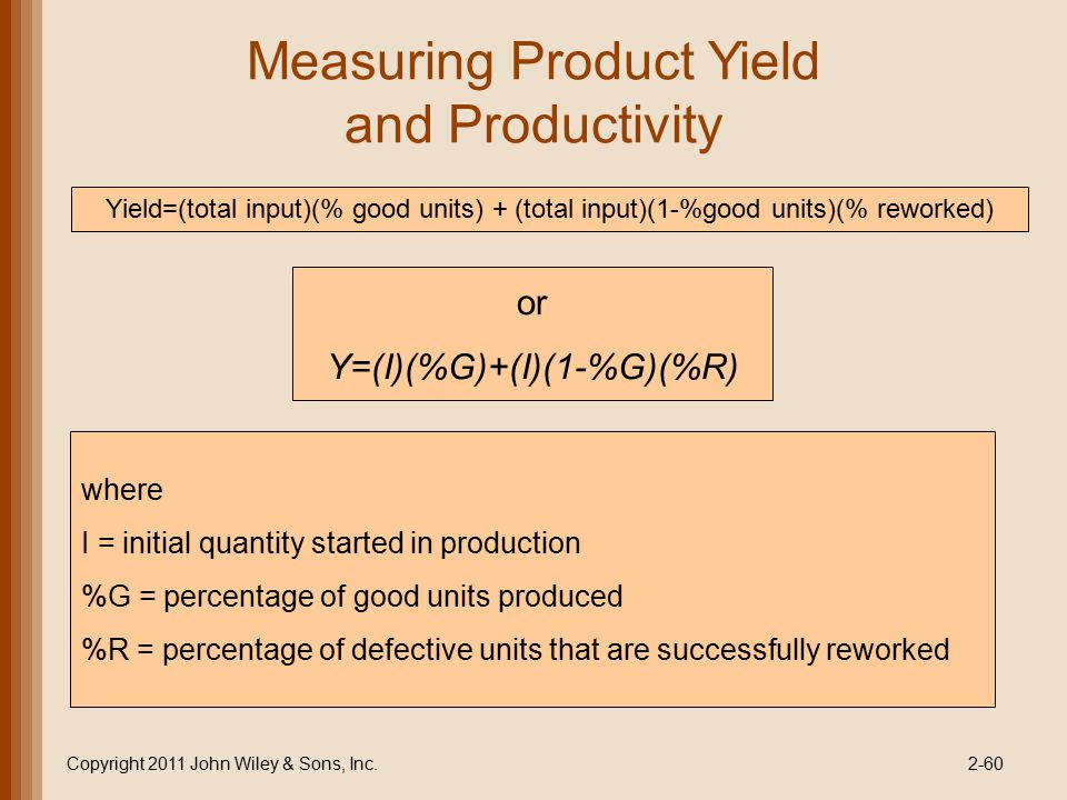Measuring Product Yield and Productivity