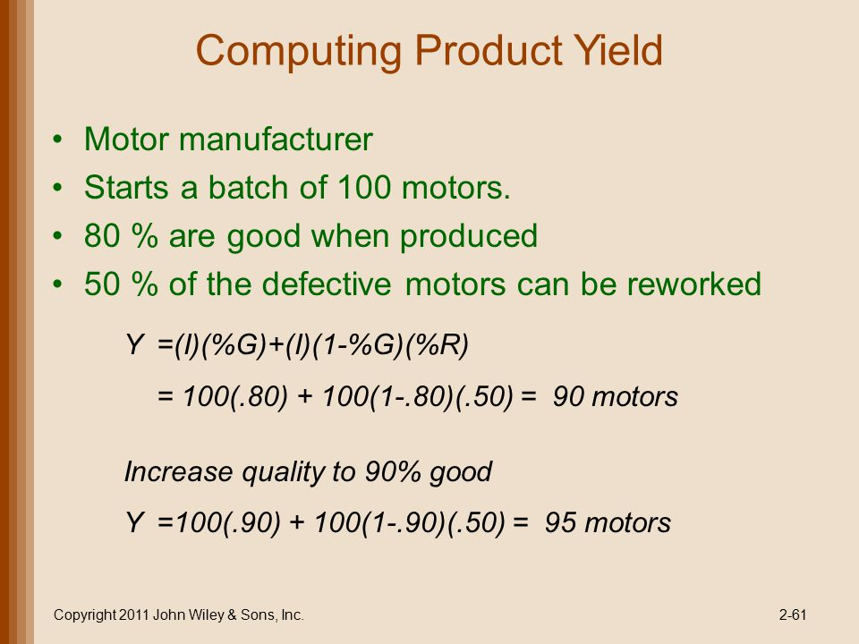 Computing Product Yield
