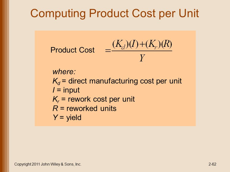 Computing Product Cost per Unit