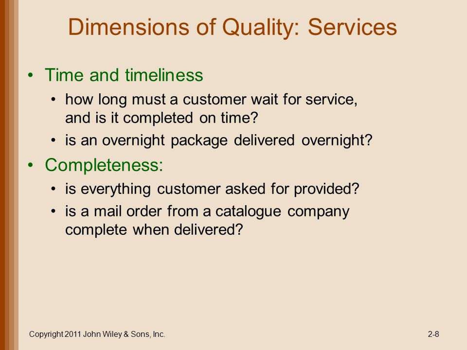 Dimensions of Quality: Services