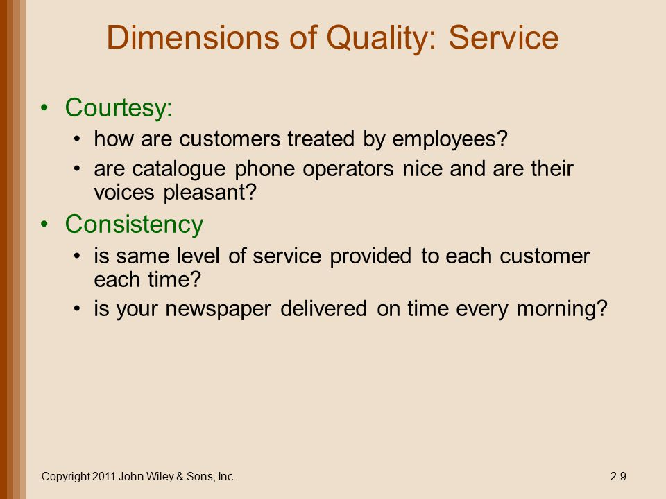 Dimensions of Quality: Service