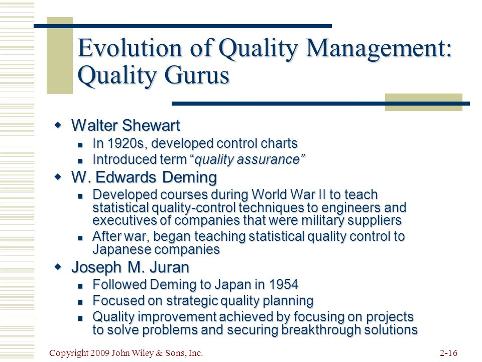 Evolution of Quality Management: Quality Gurus