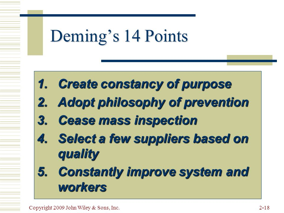 Deming's 14 Points Create constancy of purpose