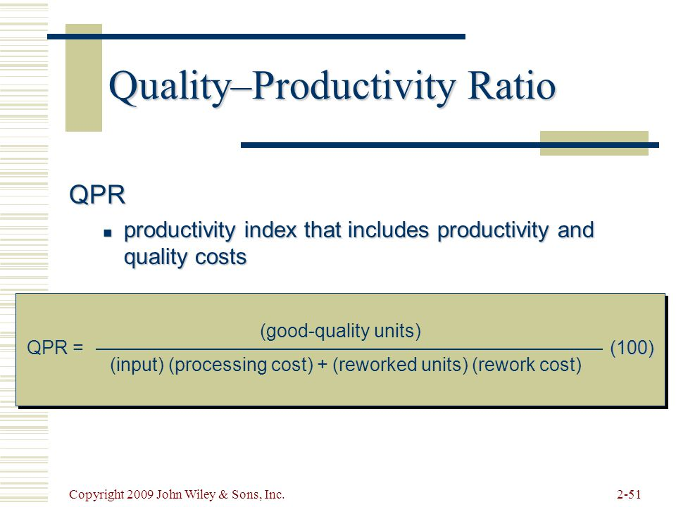 Quality–Productivity Ratio