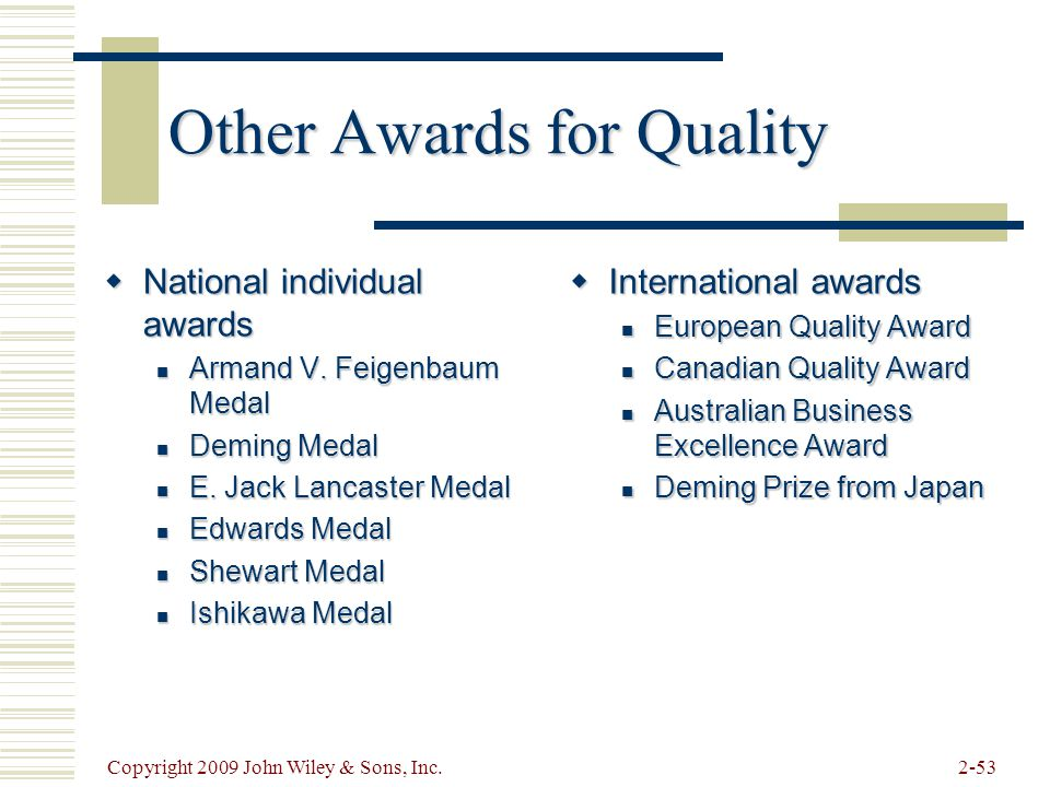 Other Awards for Quality