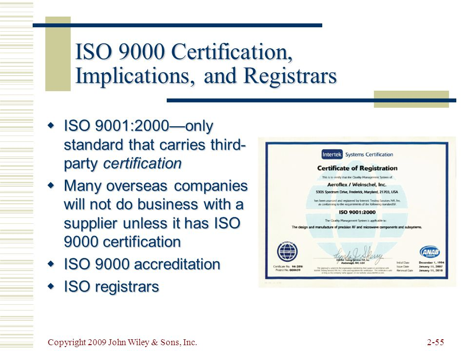 ISO 9000 Certification, Implications, and Registrars