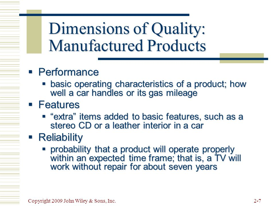 Dimensions of Quality: Manufactured Products