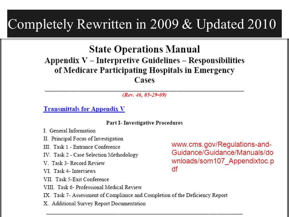 emtala update 2014 emergency medical treatment and labor act ppt rh slideplayer com Home Health State Operations Manual CMS Logo