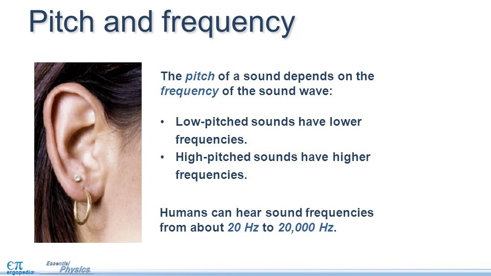Pitch and frequency The pitch of a sound depends on the frequency of the sound wave: Low-pitched sounds have lower frequencies.