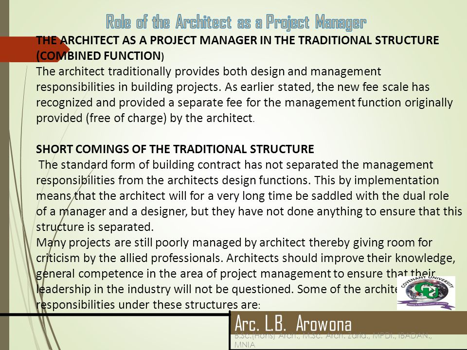 16 04 2017 The Role Of The Architect In A Contemporary Construction