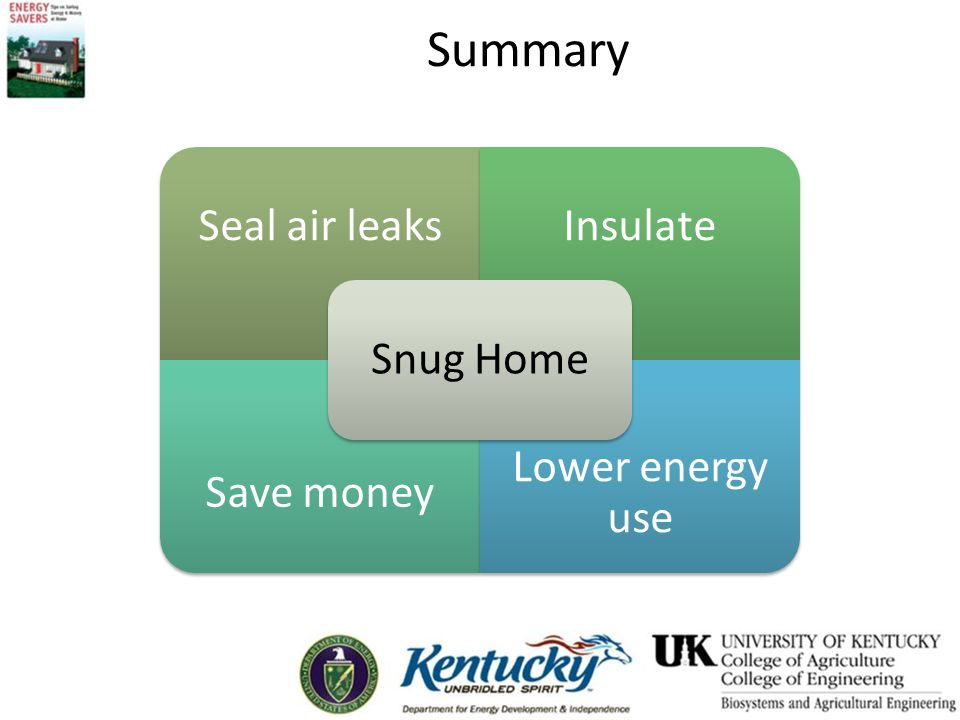 Summary Snug Home. Seal air leaks. Insulate. Save money. Lower energy use.