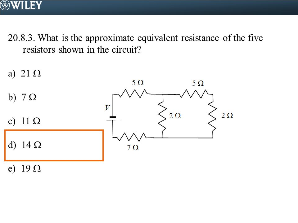 What is the approximate equivalent resistance of the five resistors shown in the circuit