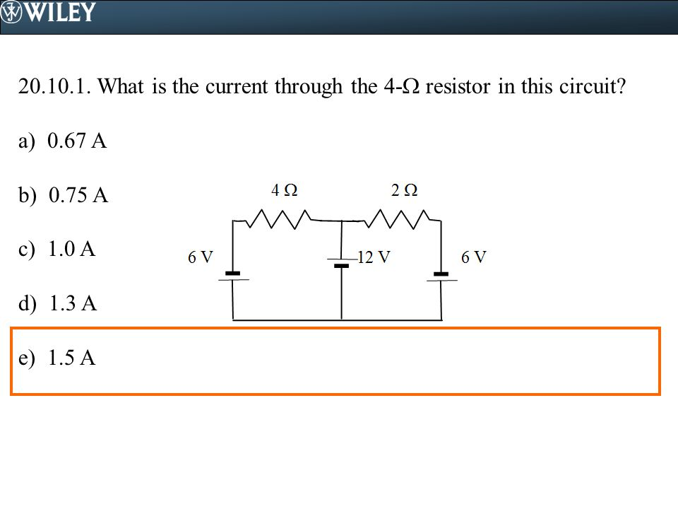 What is the current through the 4- resistor in this circuit