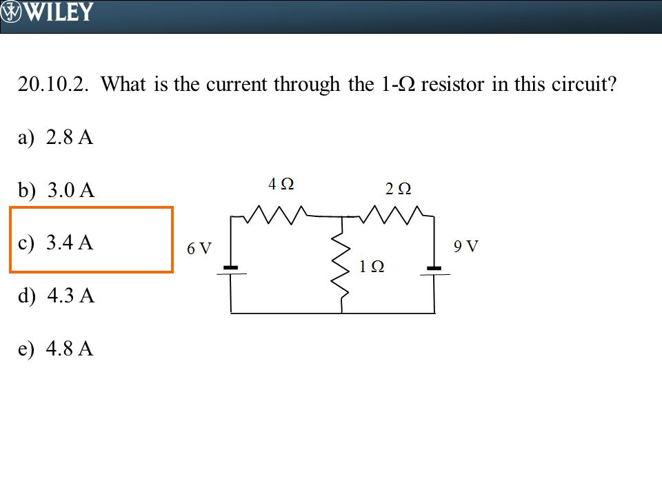 What is the current through the 1- resistor in this circuit