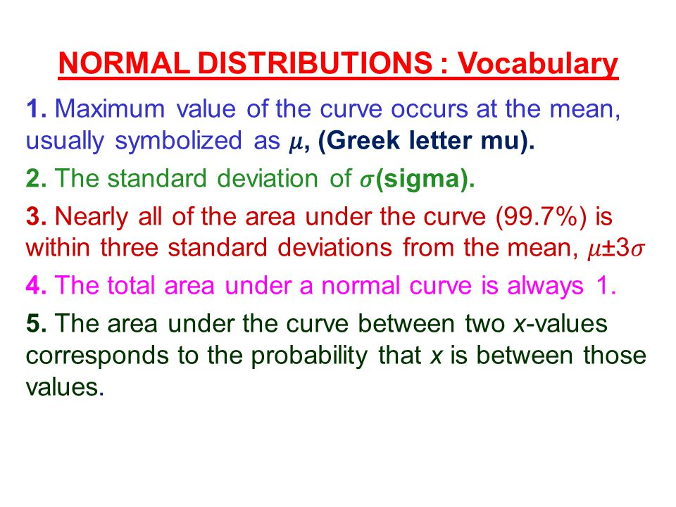 NORMAL DISTRIBUTIONS : Vocabulary