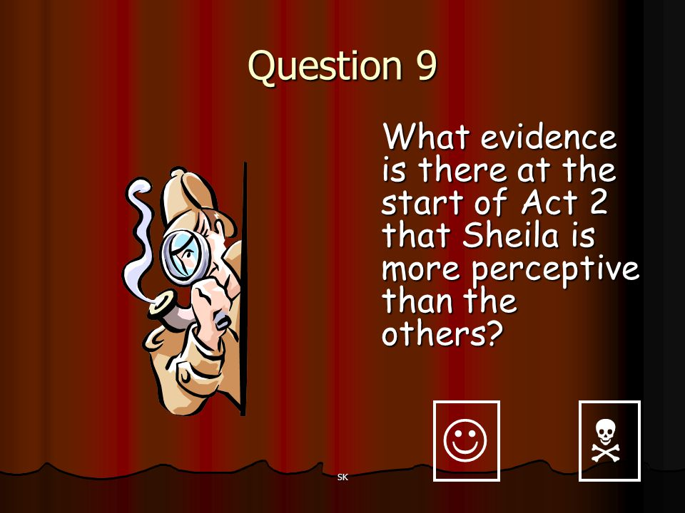 Question 9 What evidence is there at the start of Act 2 that Sheila is more perceptive than the others