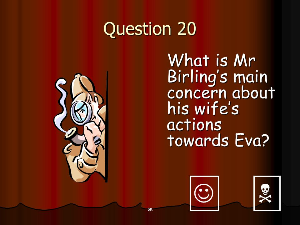 Question 20 What is Mr Birling's main concern about his wife's actions towards Eva   SK